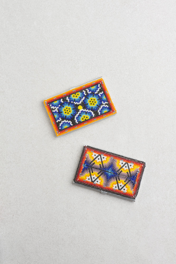 Huichol Art Metal Card Holder (Multiple Colors Available)