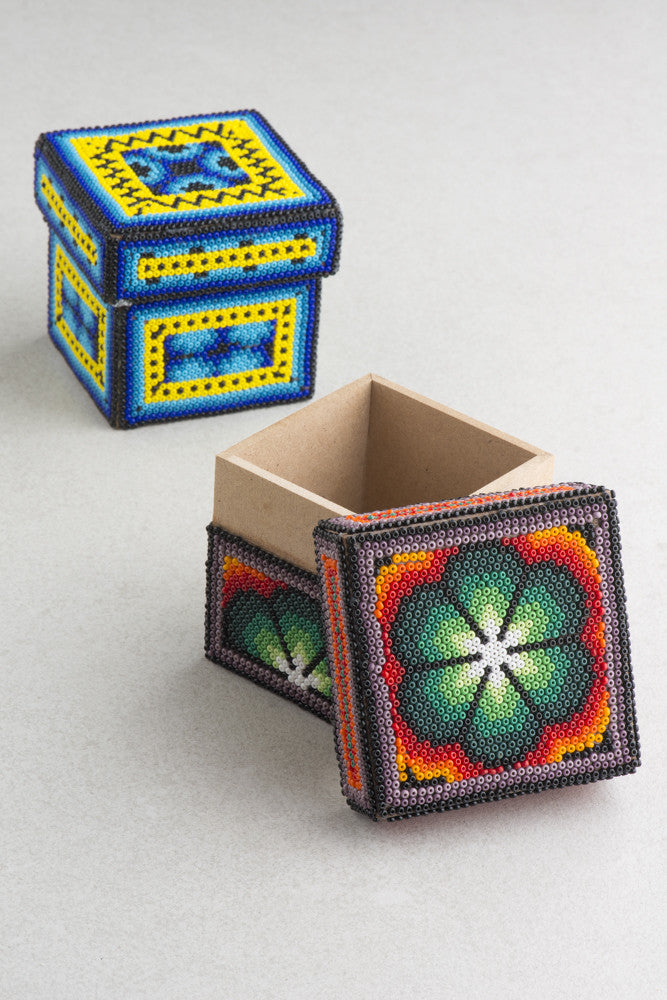 Huichol Art Small Wood Box (Multiple Colors Available)