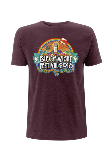 '2016 Rainbow Lighthouse' Burgundy T-Shirt