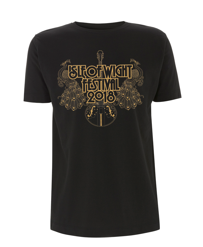 '2018 Guitar Peacocks Gold' Black T-Shirt