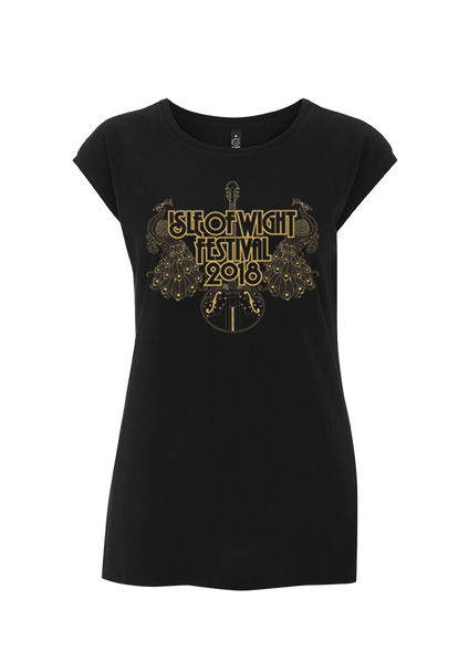 '2018 Guitar Peacocks Gold' Ladies Black T-Shirt