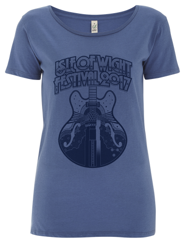 '2017 Guitar Mono' Ladies Blue T-Shirt