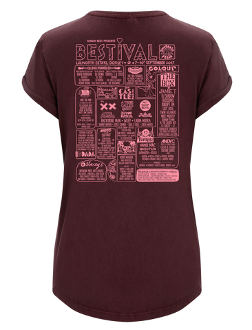 Bestival 2017 (Crest Event) Stone Wash Burgundy Ladies T-Shirt