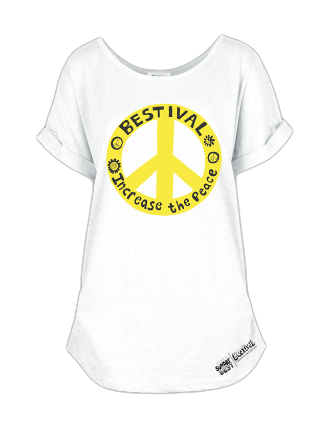 Bestival (Increase The Peace) White Ladies Rollved Sleeve T-Shirt