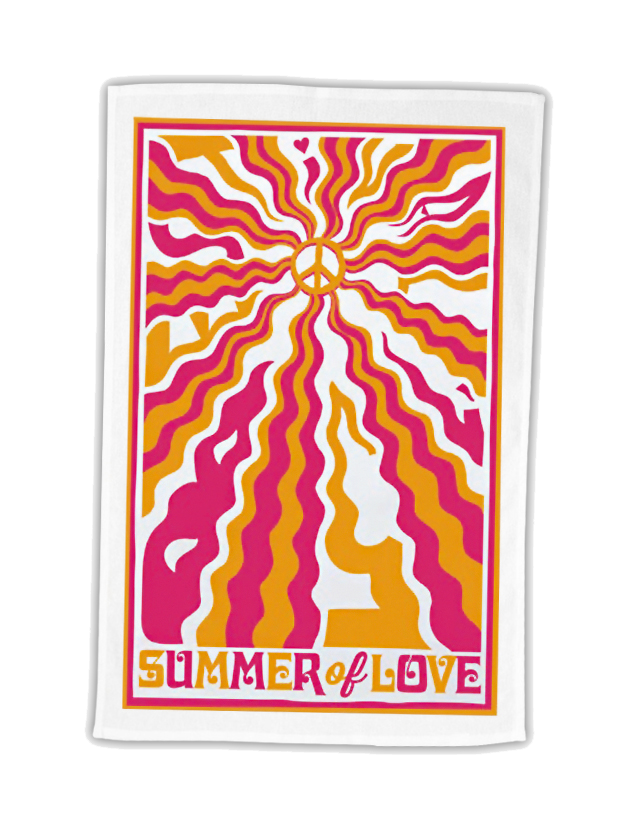 Bestival (Peace Waves) White Tea Towel