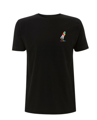 Bestival (Vintage Space Badge Rocket) Black T-Shirt