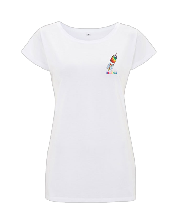 Bestival (Vintage Space Badge Rocket) White Ladies T-Shirt