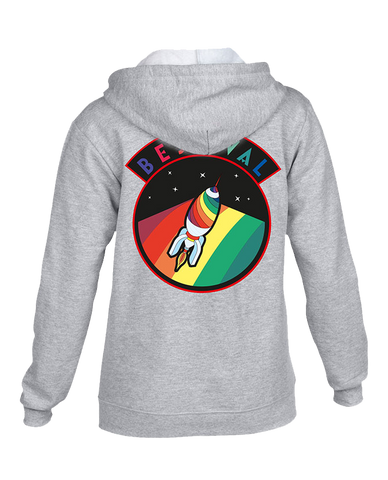 Bestival (Vintage Space Badge Rocket) Grey Zipped Hoodie