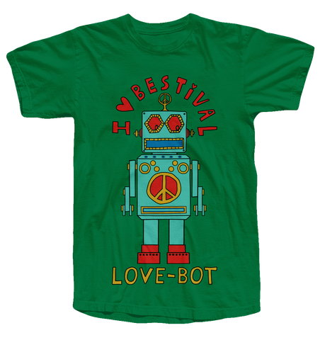 Bestival (Lovebot) Green Kids T-Shirt