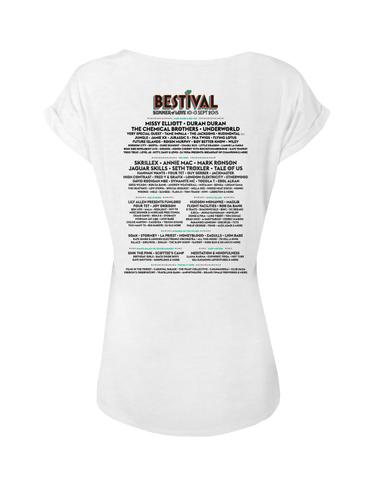 Bestival 2015 (Peace Sign Event) White Ladies Rolled Sleeve T-Shirt