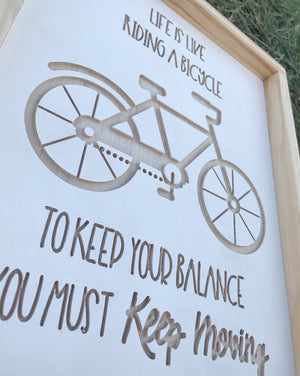 Wood Bike Sign,  Farmhouse Sign, Farmhouse Decor, 3D Wood Sign, Wood Wall Art, Country Decor, White Wood Sign,