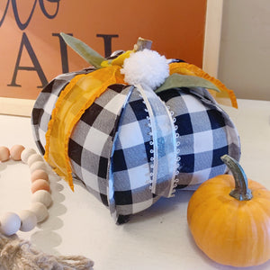 Black and White Buffalo Check Pumpkin, Fabric Pumpkin, Sewn Pumpkin, Pumpkin Decor, Farmhouse Decor