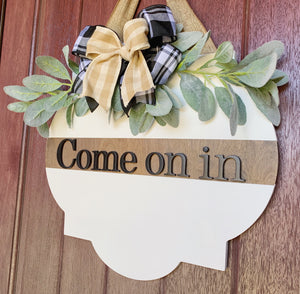 Come On In Door Hanger, Welcome Wreath, Door Decor, Wood Sign, Front Door Sign, Door Hanger, 3D Wood Sign, Modern Farmhouse Decor