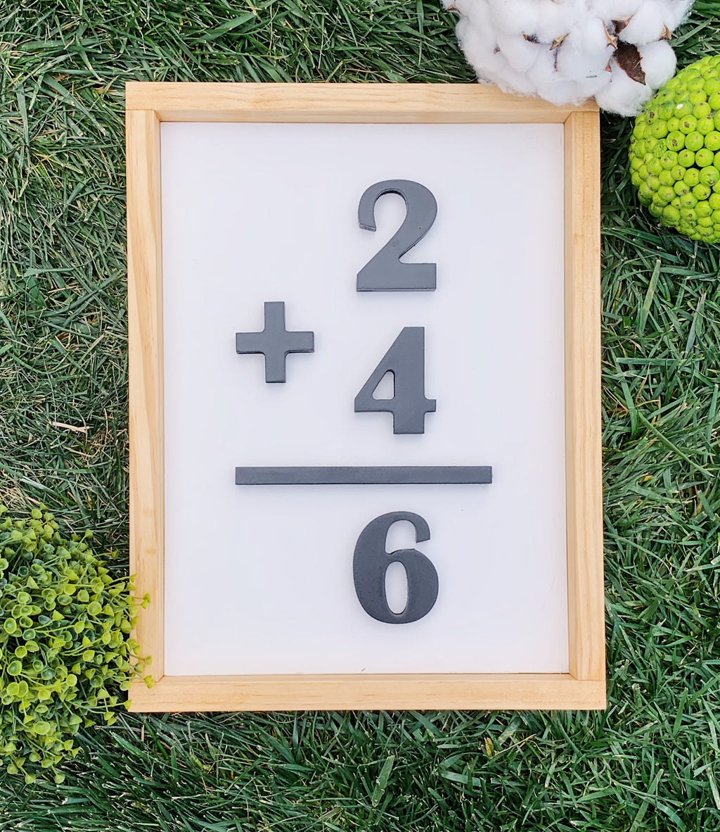 Family Number Sign, Flash Card Sign, Wood Sign, Addition Sign, 3D wood sign, 3D number sign
