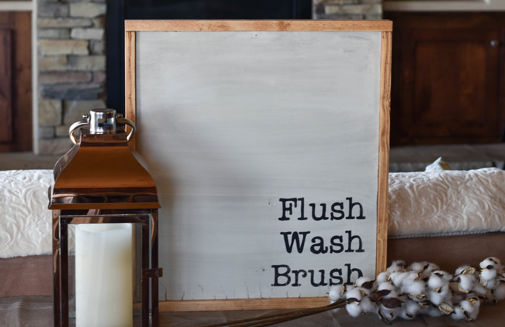 Flush, Wash, Brush Wood Sign, Bathroom Sign