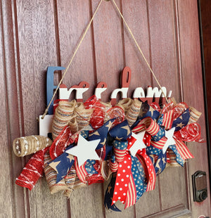 Patriotic Wreath Rail, Patriotic Wreath, July 4th Wreath, July 4th Wreath Rail, Freedom Wreath, July 4th Decor, Patriotic Decor, Front Door Decor