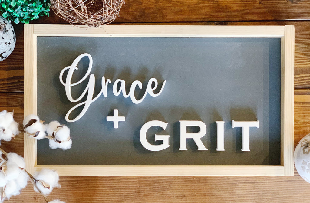 Grace + Grit Wood Sign, 3D Wall Art, Wood Sign, Wood Wall Art, Farmhouse Wall Art, Wooden Sign