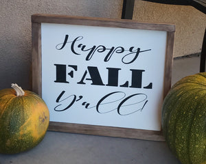 Happy Fall Y'all Wood Sign, Fall Sign, Farmhouse Decor, Farmhouse, Hand Painted Wood Sign