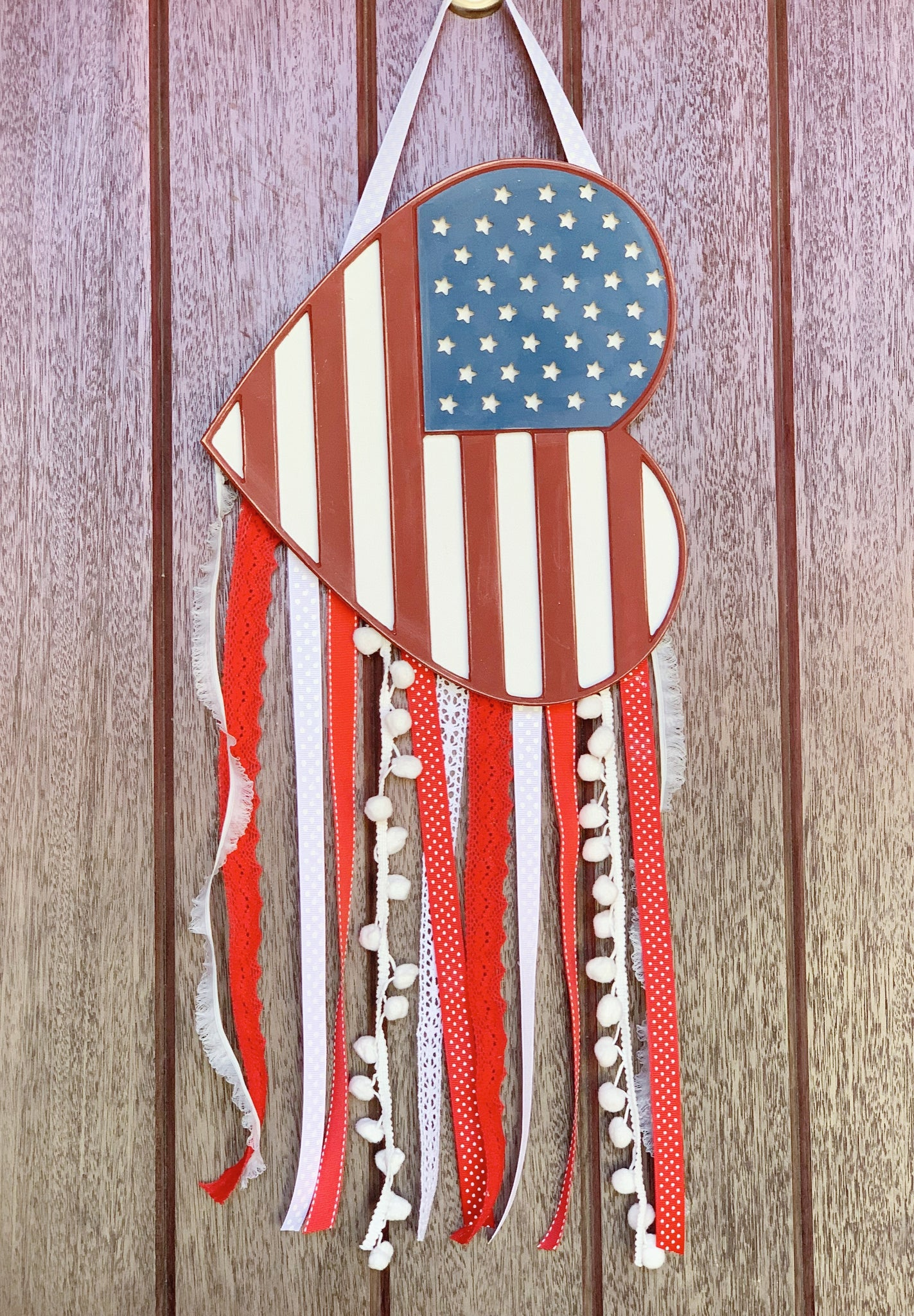 Heart Flag, July 4th Decor, Door Decor, Door Hanger, Patriotic Decor, 3D sign, Wood Sign