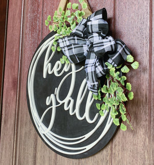 Hey Y'all Sign, Front Door Sign, Round Sign, , Door Hanger, Wooden Welcome Sign, Front Door Decor