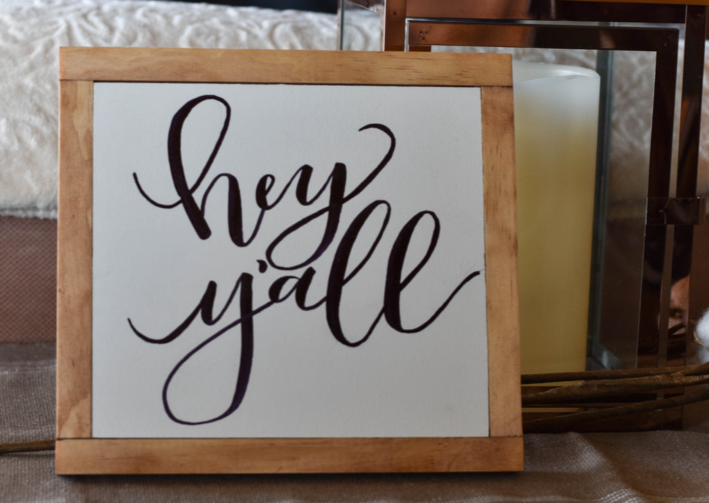 Hey Y'all Sign, Farmhouse Wood Sign, Wall Art