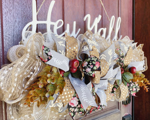 Hey Y'all Door Hanger, Hey Y'all Wreath Rail, Front Door Wreath, Fall Wreath, Fall Door, Wood Wreath Sign Wreath