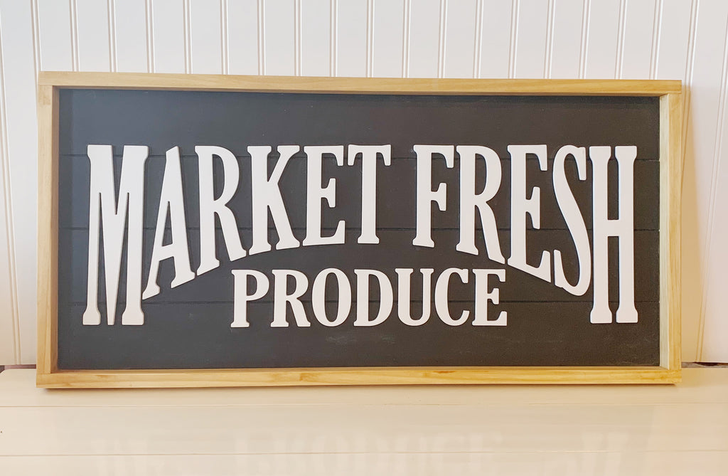 Market Fresh Produce Sign, Wood Sign, 3D Wall Art, Farmhouse Decor, Farmhouse Sign, Farmhouse Wall Decor, Farmhouse Kitchen Decor