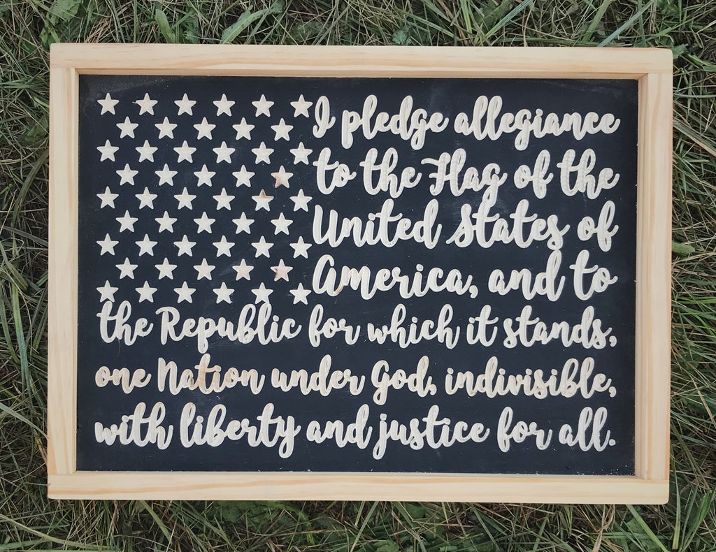 Handmade Flag Wood Sign, Pledge of Allegiance Wood Sign, July 4th, Flag Sign, July 4th Decorations, Wood Sign, Handmade Sign
