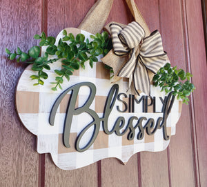 Simply Blessed Door Hanger, Buffalo Check, Door Decor, Wood Sign, Front Door Sign, Door Hanger, 3D Wood Sign