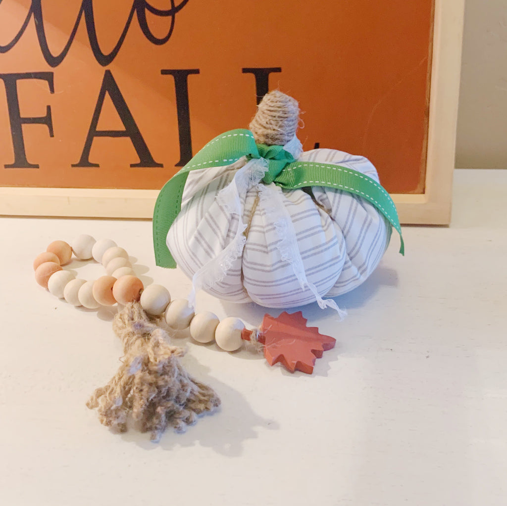 Small white fabric pumpkin, Simple Stuffed Pumpkin, Fall Decor, Autumn Decor, Farmhouse Decor