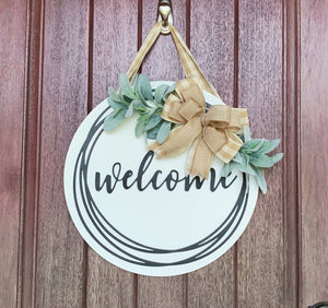 Welcome Wreath for Front Door, Front Door Hanger, Front Door Wreath, Round Wood Sign, Welcome Door Sign, Door Decor,