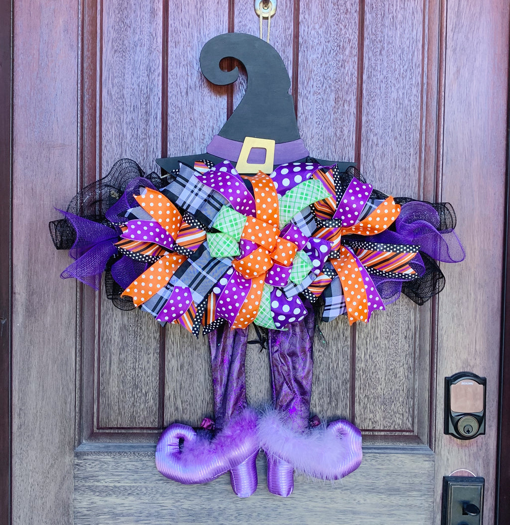 Witch's Hat Wreath Rail, Halloween Door Decor, Halloween Witch Decor, Halloween Witch Wreath, Halloween Door Wreath, Witch