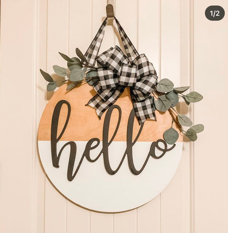 Hello Door hanger, Front Door Sign, Round Door Sign, 3D sign