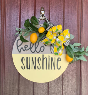 Hello Sunshine Door Hanger, Lemon Sign, Round Lemon Sign, Lemon Door Hanger