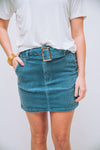 SHOW ME YOUR MUMU: TESSA BELTED MINI SKIRT-DUSTY BLUE CORDUROY