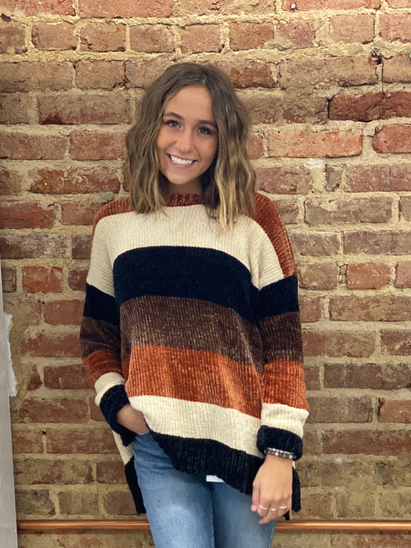 SHOW ME YOUR MUMU: JESSE SWEATER-STAYIN ALIVE STRIPE CHENILLE