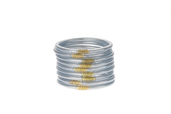BUDHA GIRL: ALL WEATHER SILVER BANGLES-SERENITY PRAYER