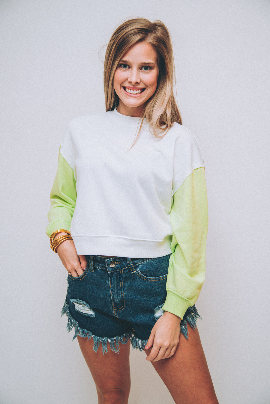 Z SUPPLY: THE COLOR BLOCK SWEATSHIRT-NEON LIME