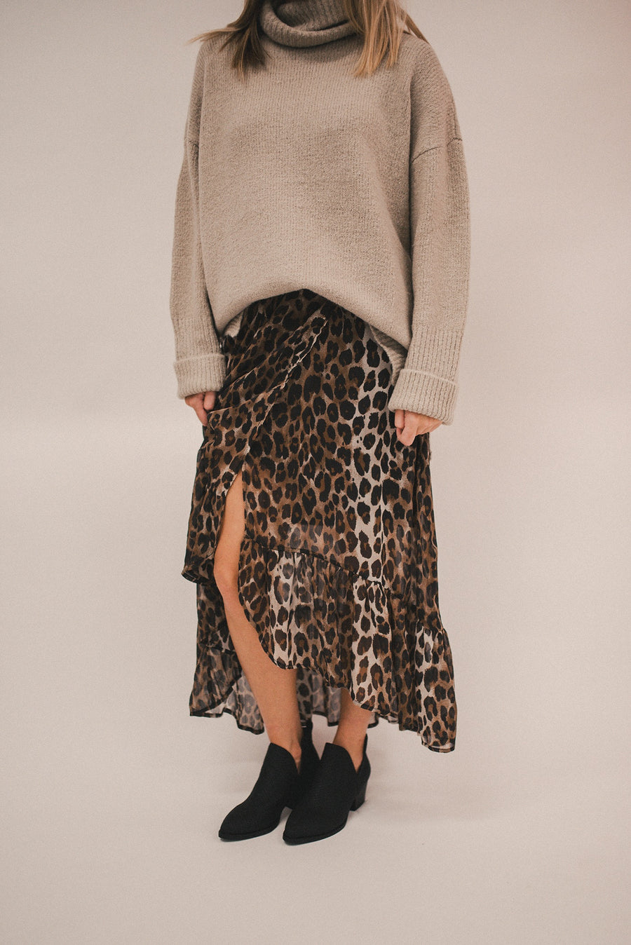 CIAO BELLA  LEOPARD CHIFFON HIGHWAISTED HI LO SKIRT