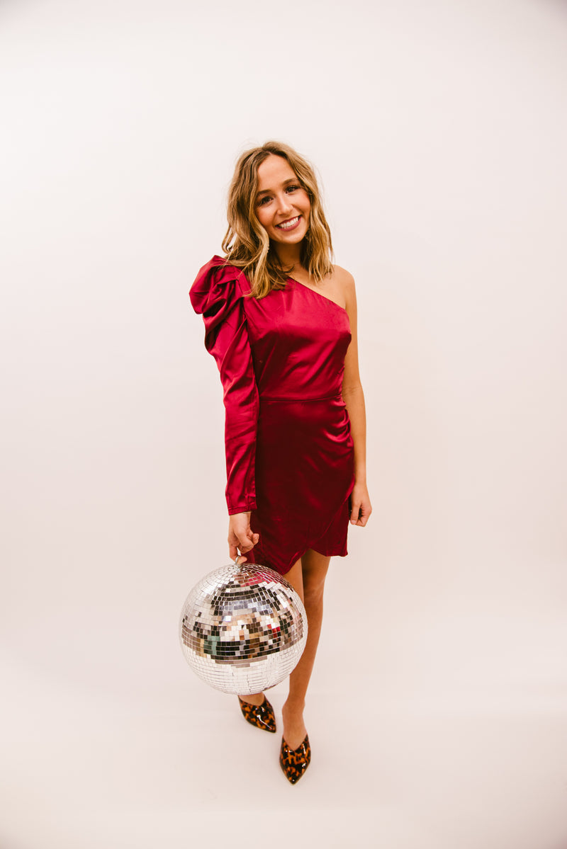 COCKTAIL SEASON ONE SHOULDER DRESS-CRANBERRY