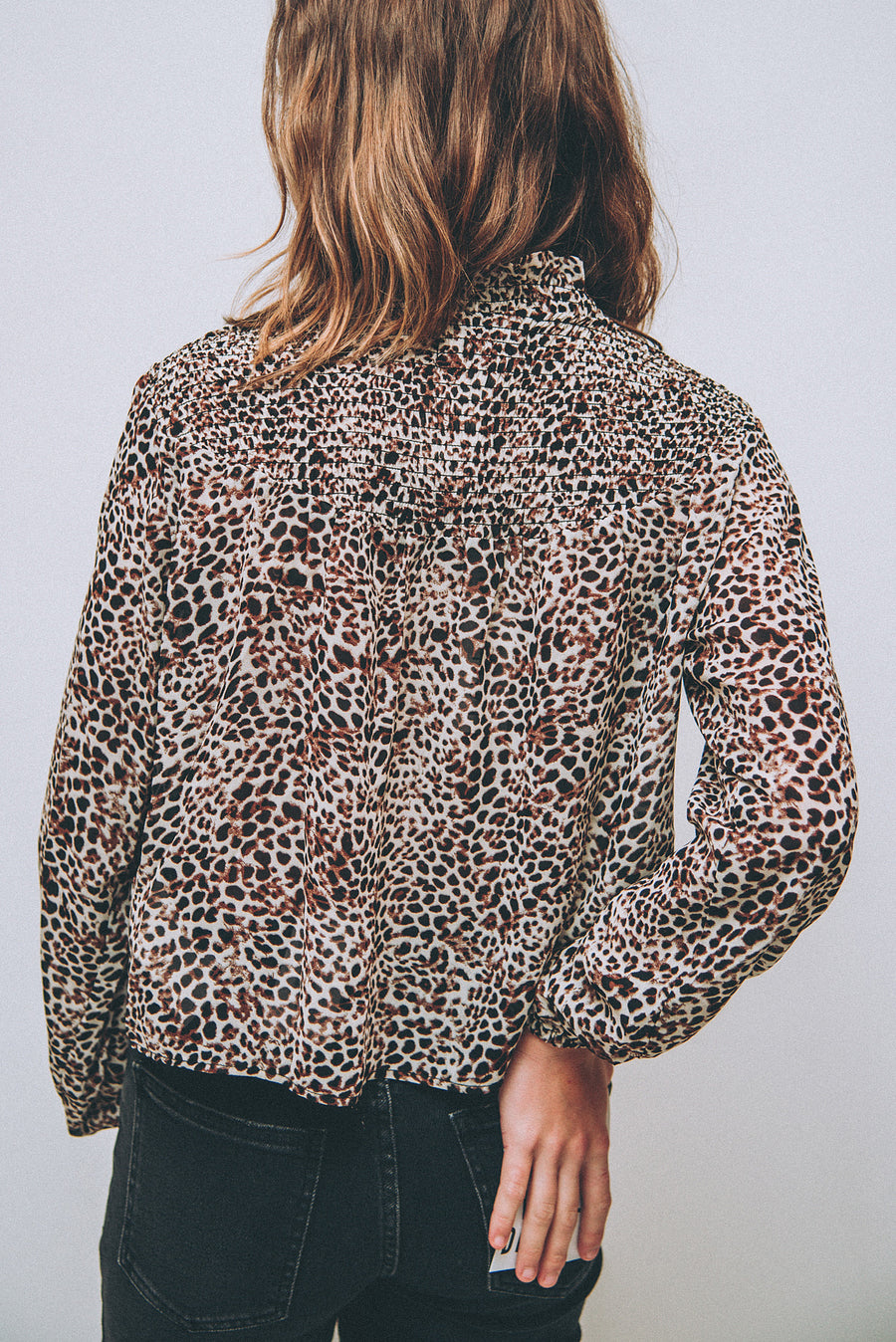 MINK PINK: UP TO YOU SHIRRING TOP-LEOPARD