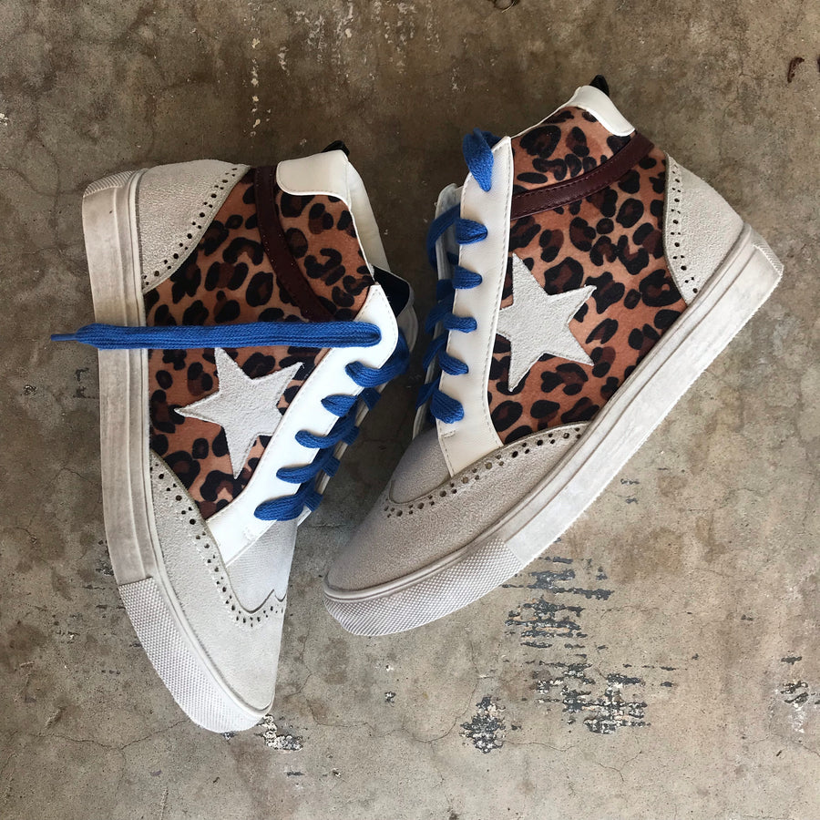 WALK OF FAME LEOPARD HIGH TOP SNEAKERS