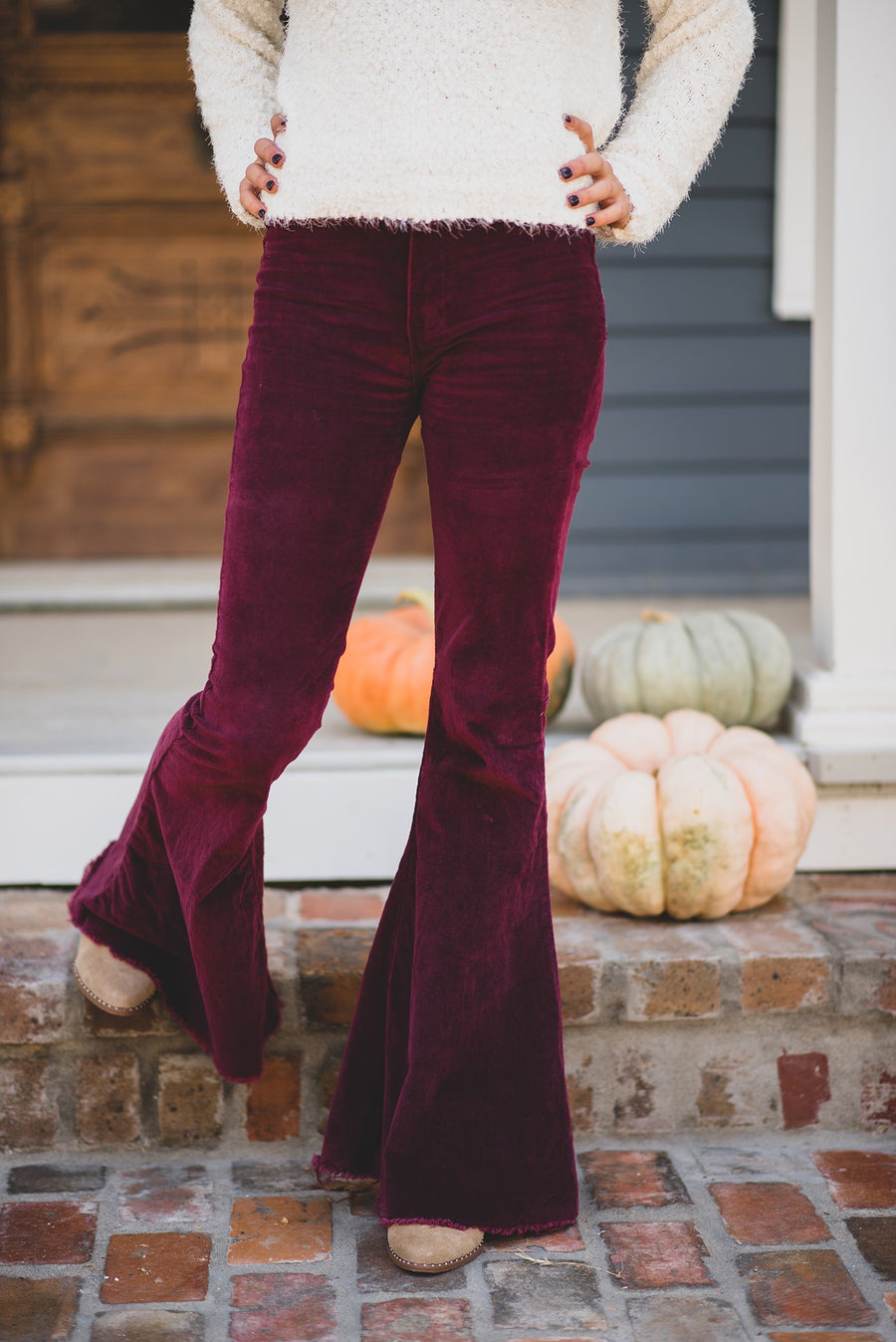 BUDDY LOVE: MOONSHINE HIGH WAISTED FLARE CORDUROY JEANS-WINE