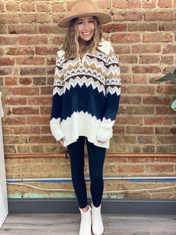 SHOW ME YOUR MUMU: SUN VALLEY PULLOVER-FAIR ISLE WITH FAUX SHERPA