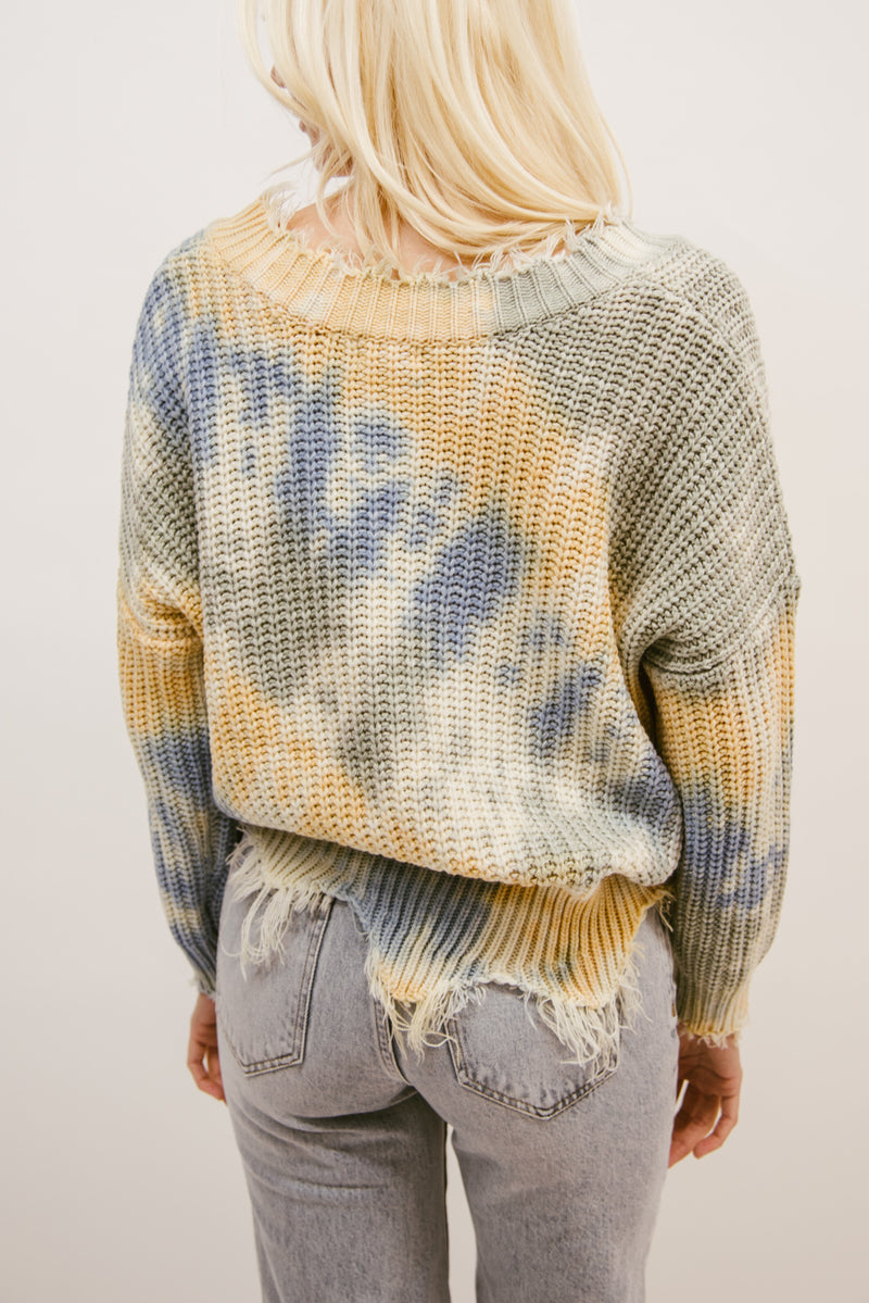 OVERCAST TIE DYE DISTRESSED SWEATER-BLUE MULTI