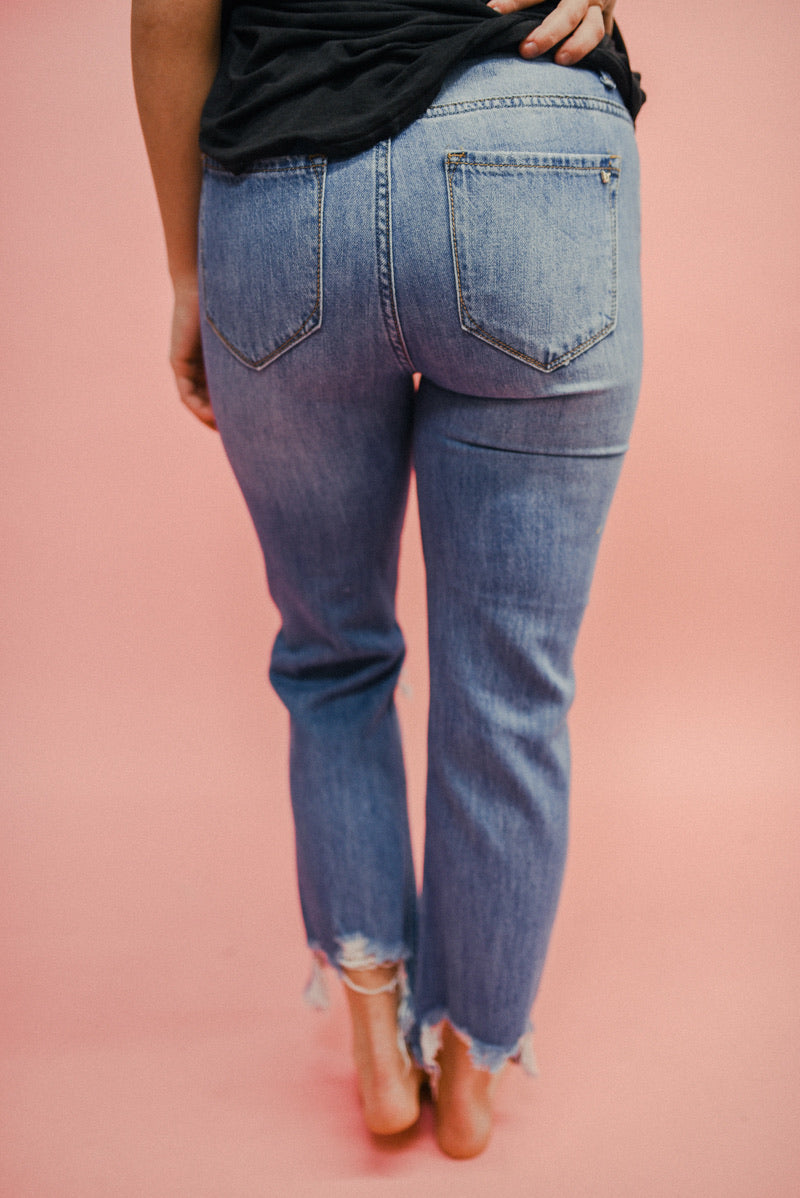 THE RAMBLER HIGH RISE CROP STRAIGHT GIRLFRIEND JEANS