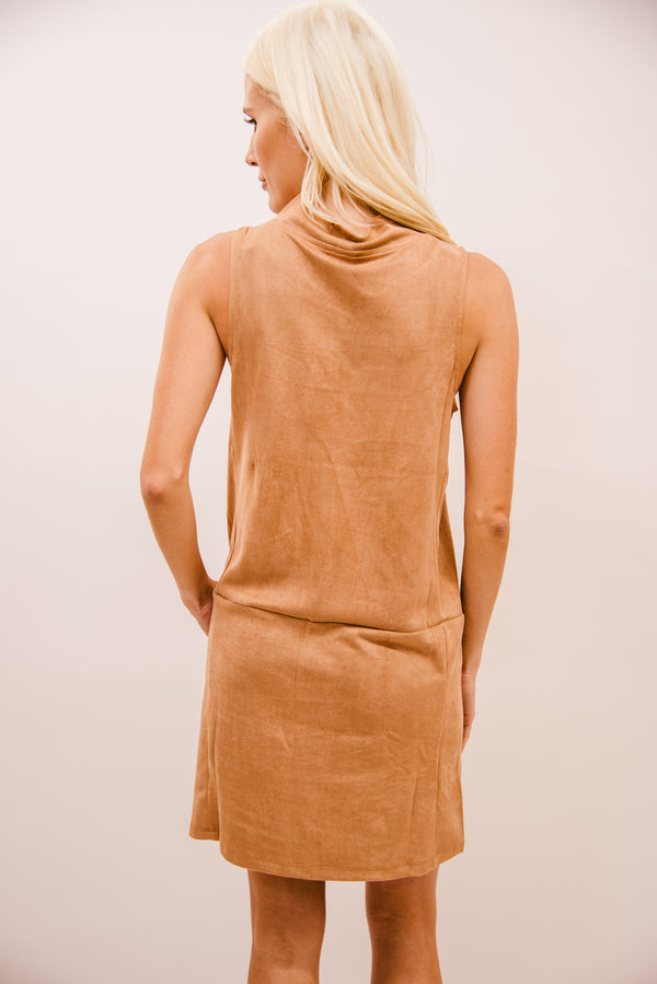 THE RYLAN FAUX SUEDE MOCK NECK DRESS-TAUPE