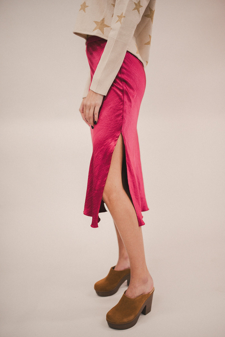 THE LOOK OF LUXE SATIN MIDI SLIP SKIRT