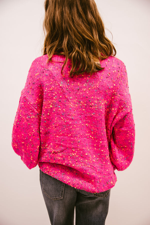 POP THE CONFETTI BUBBLE SLEEVE SWEATER-ELECTRIC PINK