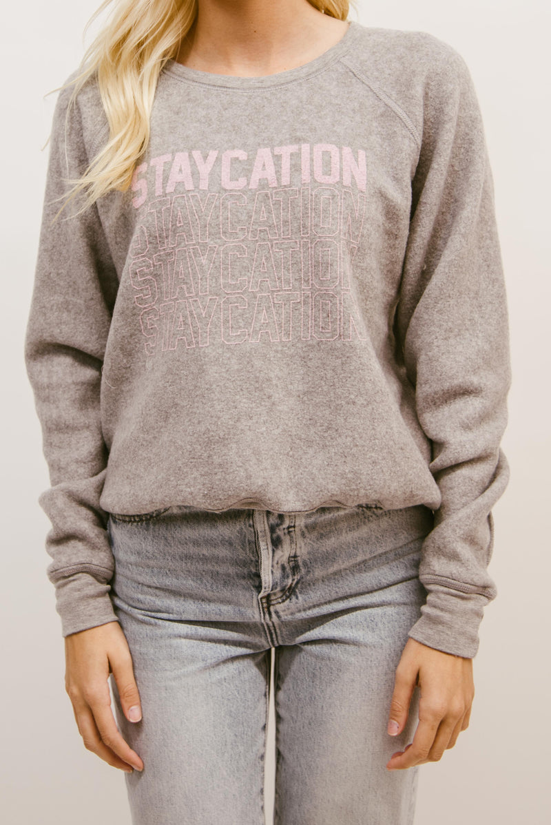 PROJECT SOCIAL T: STAYCATION/VACATION REVERSIBLE SWEATSHIRT-GREY